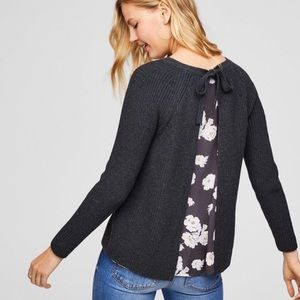 LOFT • Floral Chiffon Tie Back Gray Ribbed Sweater